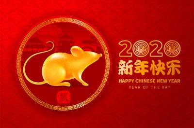 A graphic showingn the Chinese year of the rat.
